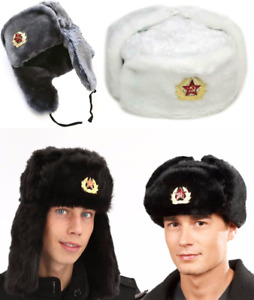New Black Russian Trapper Hat With Soviet Badge Faux Fur Ushanka Cossack Flaps
