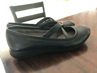Life Stride Velocity Memory Foam Flats Shoes Loafer Mary Jane Size 7W Black EUC