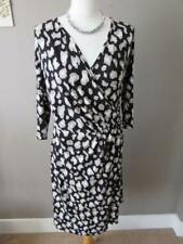 MARKS & SPENCER Ladies Black Beige Animal Print Wrap Detail Dress Size 14 PETITE