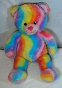 "Build a Bear Rainbow Bear Plush Teddy Bear Tie Dye Multi Color 18"" Swirls"