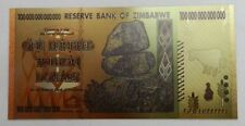 Zimbabwe 100 trillion gold foil banknotes