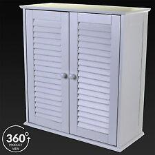Bathroom Double Door Cabinet Slatted Front Door White Wooden Storage Wall Mount
