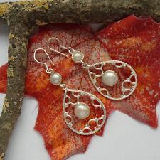 Perle weiß rund Ohrringe nostalgisch Design Ohrhänger, 925 Sterling Silber, neu