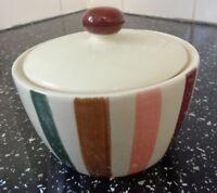 Creative Top multi colour stripe cream sugar dish bowl with lid 10cm x 8cm