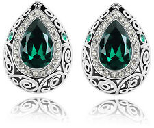 Luxury Vintage Silver Emerald Green Water Drop Earrings Studs E634