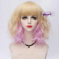 Ligth Blonde Mixed Pink 35CM Lolita Medium Curly Women Cosplay Wig With Bangs