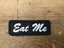 Eat Me -biker patch motorcycle embroidered WHITE black