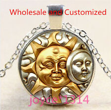 Sun and Moon Face Cabochon Tibetan silver Glass Chain Pendant Necklace #5064