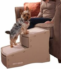 Pet Gear 2 Step Dog Doggy Puppy Hop up Ladder Stairs Rubber Grips Tan
