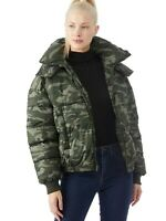 Lucky Brand Women's Hooded Camo Puffer Jacket Green New With Tags L $198