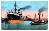 A Busy Harbor Scene, Mobile, AL Postcard *5K9