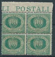 1892-94 SAN MARINO STEMMA 10 CENT QUARTINA MNH ** - VA9-3
