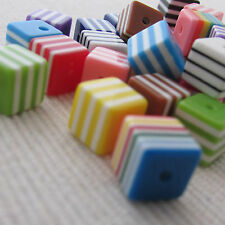 8mm Cube Beads ~ Striped Resin assorted colours x 50