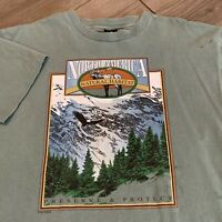 North America Wildlife T Shirt Adult Large Mens Green Vintage 90s Nature Protect
