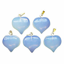 5 x White OPALITE Crystal Glass Puff HEART Pendants 18mm