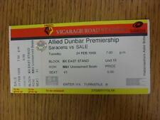 24/02/1998 Rugby Union Ticket: Saracens v Sale [At Watford] (complete). Item in