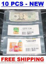 3 POCKETS Coupon Sleeve Pages Currency size 5 Pcs - Note Bill Holder Organizer