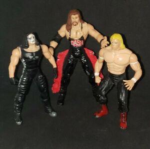 """Lot of 3 Steel Slammers 3"""" Die Cast Wrestling Figures WCW/WWE/WWF 1998 Toy Biz"""