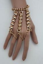 Women Gold Metal Wrist Bracelet Hand Chains Slave Rings Long Spikes Bangle Rock