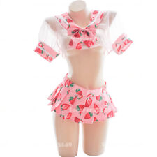 New  Kawaii Strawberry Sexy Pink uniform Women Transparent Sailor suit cosplay#