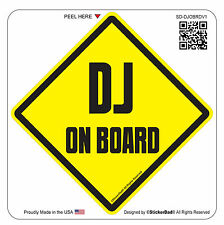 "DJ Disc Jockey ON BOARD (4.5"" color: Y/B)Full Color Printed Vinyl Window Sticker"