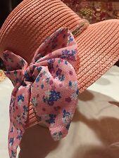 Vintage Pale Coral Pink Straw Ribbon Wide Brim Cloche Hat