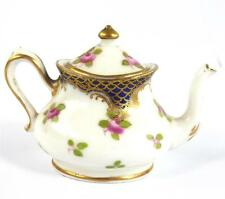 ANTIQUE ENGLISH PORCELAIN MINIATURE TEAPOT ROSES GILT