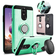 For LG Stylo 4/4 Plus Hybrid Slim Ring Stand Phone Case + Glass Screen Protector