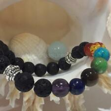 Aromatherapy Essential Oil Diffuser Gemstone Chakra Bracelet Lava Stretch silver