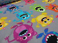 ☻ Stoff Baumwolle Jersey Monster grau bunt Kinderstoff ☻