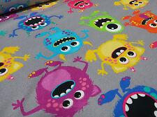 Stoffrest 29x148cm Baumwolle Jersey Monster grau bunt Kinderstoff