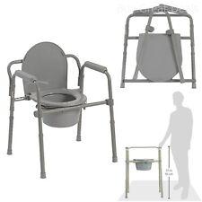 Adjustable Bedside Commode Toilet Seat Riser Fold Chair Handicap Elderly Safety