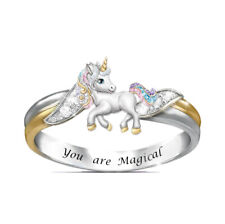 unicorn Ring Wedding Jewelry Ring Size7 Fashion Silver Women Double Color Ring