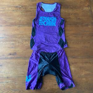 Tough Chik Womens Large Cycling Shorts Jersey Set L Kit Run Swim 2 Piece Purple