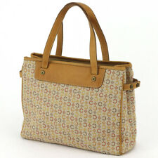 CELINE tote bag macadam beige canvas �~ leather Auth used T16817