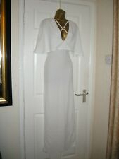 12 CLUB L IVORY MAXI DRESS CAPE PLUNGE FRONT WEDDING SUMMER HOLIDAY
