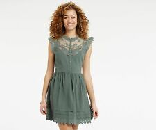 OASIS LACE SHIRT DRESS KHAKI GREEN 10
