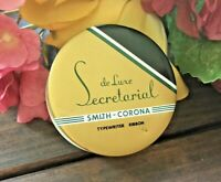 c.1950-60s MCM VTG De Luxe Secretarial Smith Corona Typewriter Ribbon Tin-NICE!