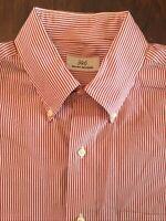 Brooks Brothers 346 Mens Dress Shirt 15.5 x 34/35  Button Down Collar Red Stripe
