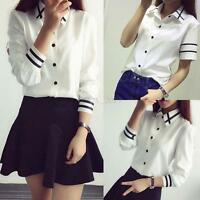 Korean Style Ladies Casual T-Shirt Button Down Long Sleeve Blouse T-Shirt Tops