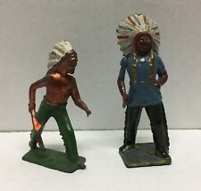 (66558) VINTAGE W. BRITAIN NATIVE AMERICAN INDIAN CHIEF & BRAVE - LOT of 2