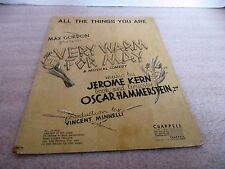 Vintage 1940~VERY WARM FOR MAY Sheet Music~A Musical Comedy~Jerome Kern