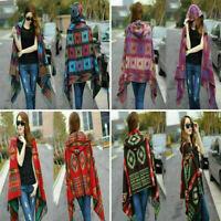 Women Lady Wrap Shawl Cape Poncho Hoodie Scarf Knitted Cardigan Blanket Sweater