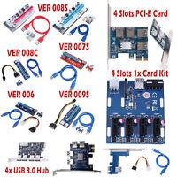 4 Slots PCI-E Riser Card 1x to 16x USB3.0 VER 007S 008S 009S Mining Board Lot
