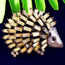 Light Yellow Tibetan Silver Titanium Crystal Hedgehog Pendant Brooch SH-GY22