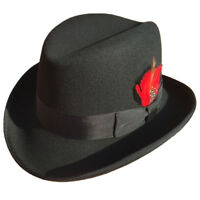 Classic Wool Felt Homburg Bowler  Fedora Hat Godfather Hat Black Blue Brown Red