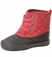 Ralph Lauren Infant Girls Layette Shoes Preppy Pink Danika Boots Lace Up Slip On