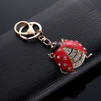 CO_ HK- Cute Ladybug Pendant Key Chain Rhinestone Hanging Ring Bag Phone Decor G