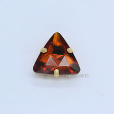 12p 18mm triangle faceted crystal glass sew on Flatback rhinestones gold setting