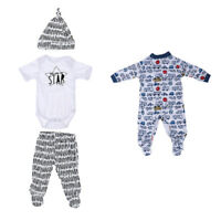 Doll Clothes Set Romper Striped Pants Hat for 20-22inch Newborn Baby Doll